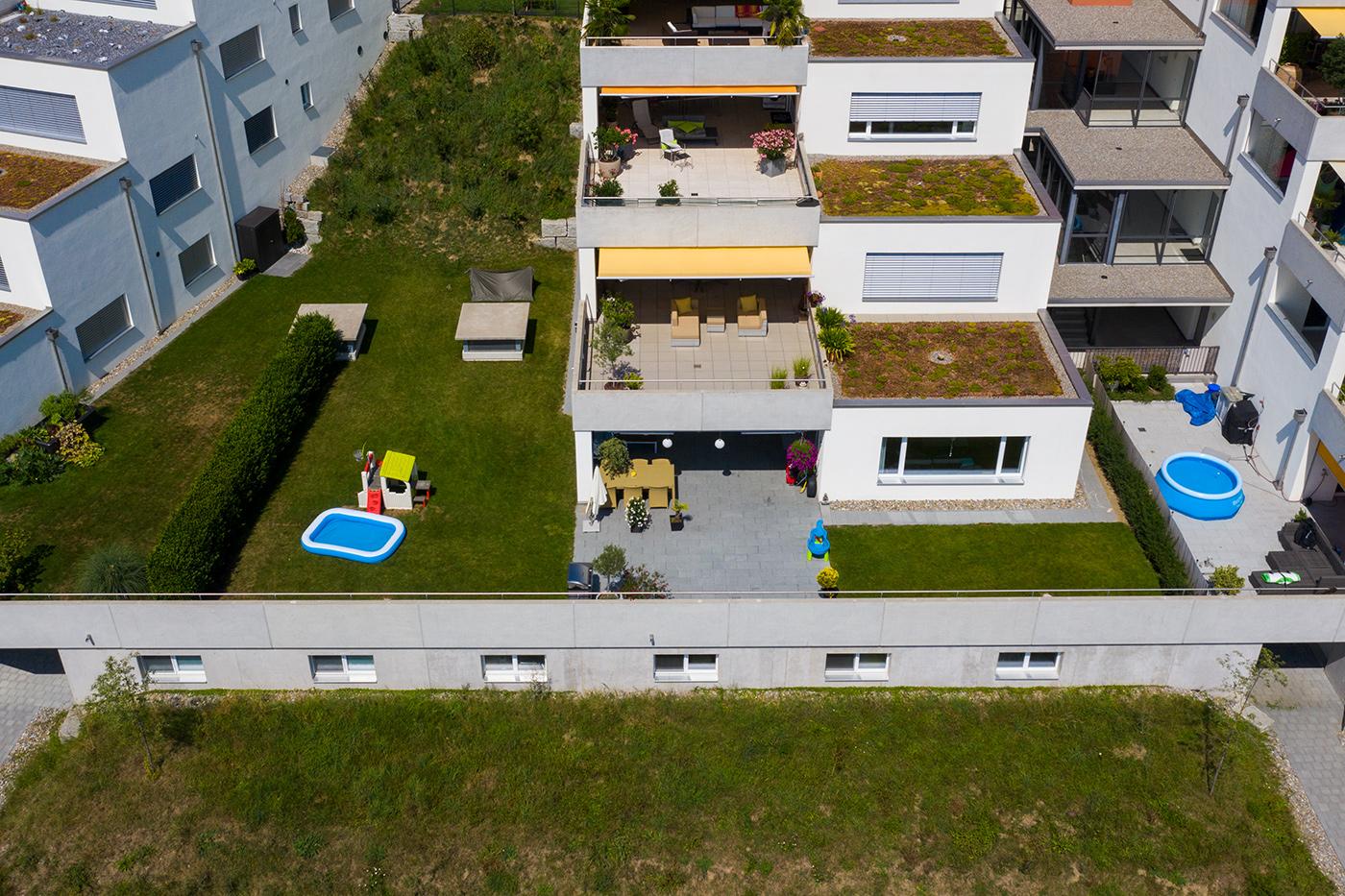 Drohnenaufnahme von Terrassenwohnung