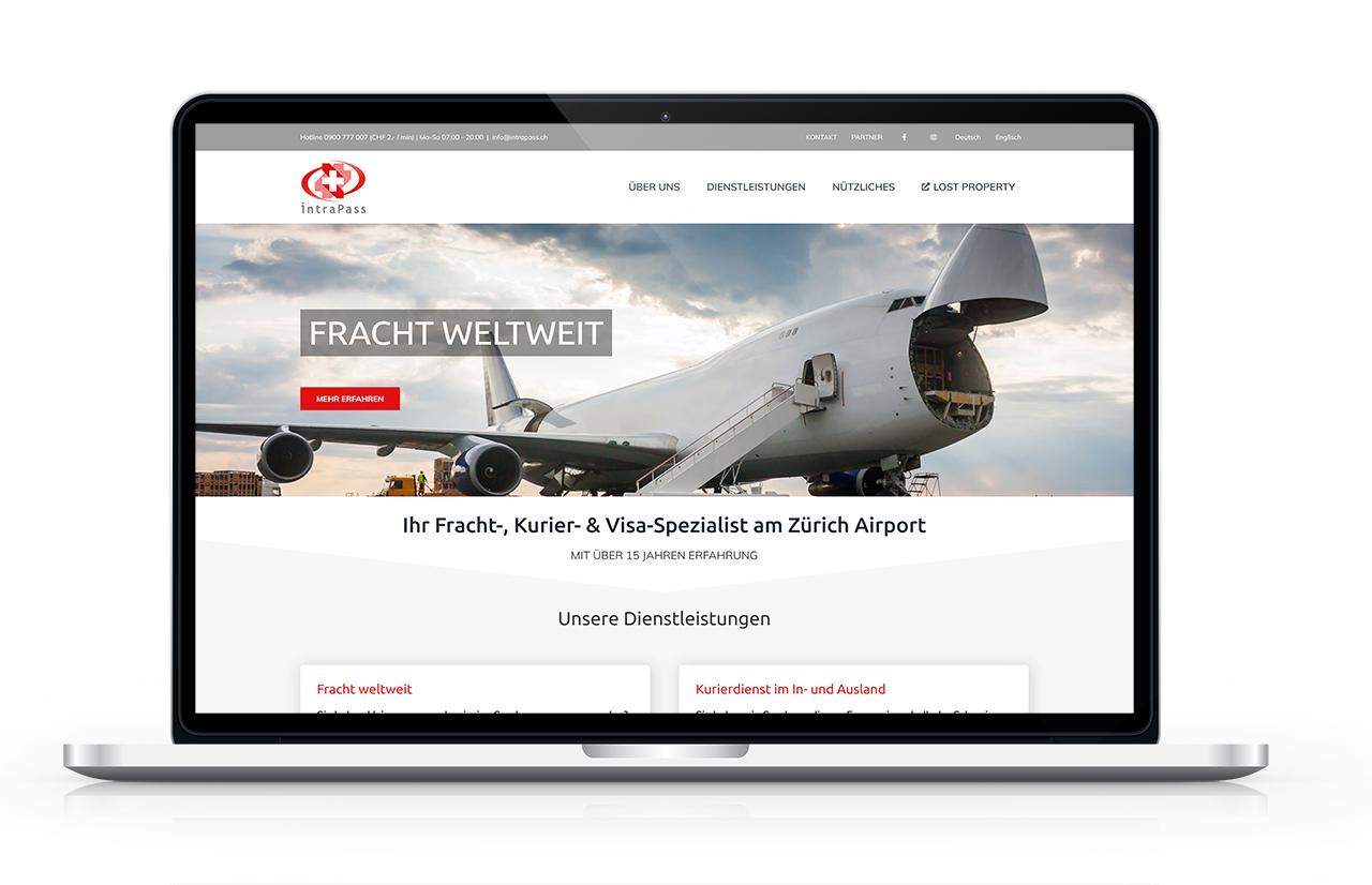 Startseite eines Unternehmens mit Standort Zürich Flughafen